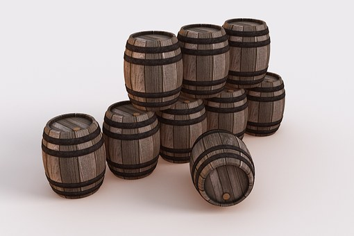 Nine Bowmore whisky barrels bundled on a white background.