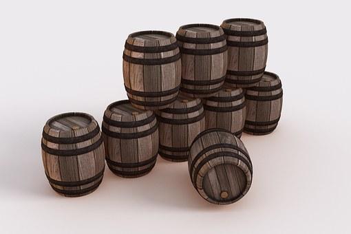 Nine Bowmore whisky barrels bundled on a white background.