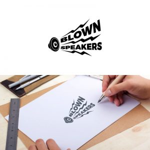 Blown Speakers logo being drawn on paper with a pen by the hands of one of the Repeat Logo designers.