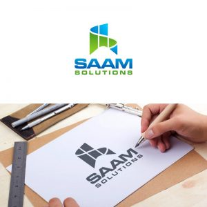 SAAM logo being drawn on paper with a pen by the hands of one of the Repeat Logo designers.